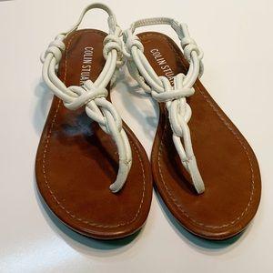 Colin Stuart White Leather Strap Flat Thing Sandal